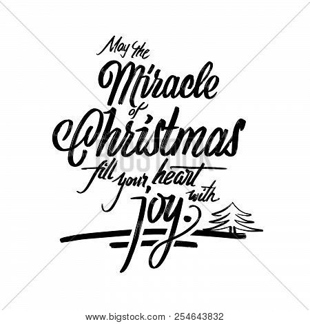 Christmas Words Lettering Greeting Card. Hand Drawn Calligrphic Vector Sketch.