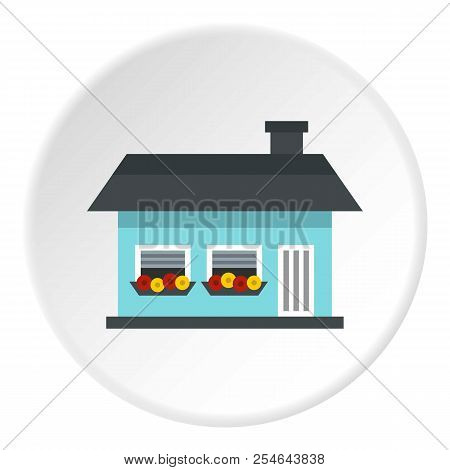 One Storey House With Two Windows Icon. Flat Illustration Of One Storey House With Two Windows Icon