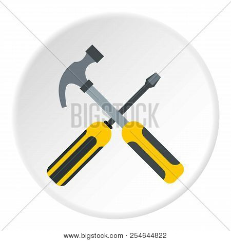 Hammer And Screwdriver Icon. Flat Illustration Of Hammer And Screwdriver Icon For Web