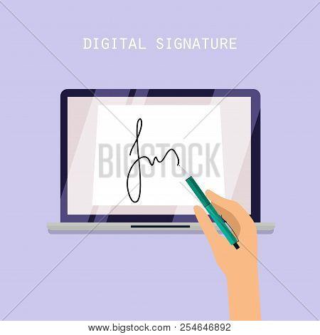 Digital Signature Concept. Online Contract On Screen. Flat Vector Illustration.