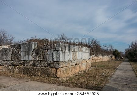 Fortification Wall (306-304 Bc) Ancient Ruins. Dion Archaeological Park, Pieria, Greece.