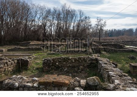 Column And Ruins Of Building At Dion Archaeological Site. Pieria, Macedonia, Greece