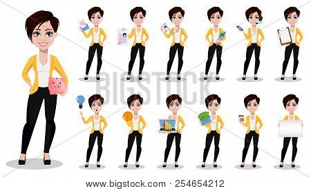 Business woman, freelancer, banker. Beautiful lady in casual clothes, set of thirteen poses. Vector illustration on white background. poster