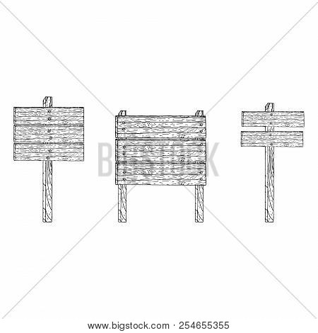 Set Of Wooden Boards. Vector Illustration Of A Wooden Signboard Boards. Hand Drawn  Textured Wooden