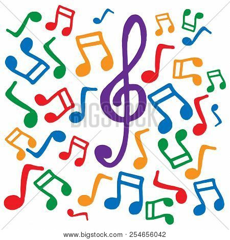 Colored Musical Notes. Vector Illustration. Background Of Musical Notes. Musical Notes And Treble Cl