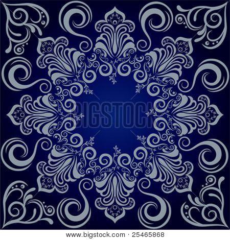 Мандала синий фон. Вектор Иллюстрация.
