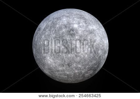 Mercury Planet On Black Background. 3d Rendering. Mercury Is The Smallest And Innermost Planet In Th