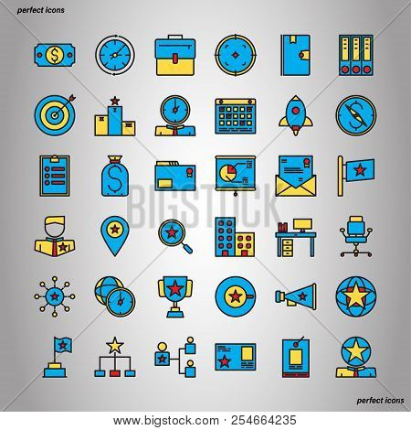 Business Management Color Line Icons Perfect Pixel. Use For Website, Template,package, Platform. Con