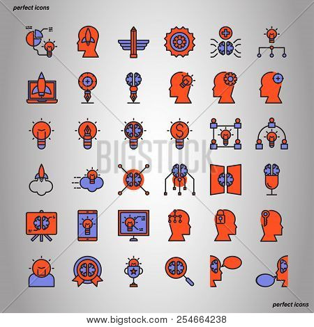 Creative And Design Color Line Icons Perfect Pixel. Use For Website, Template,package, Platform. Con