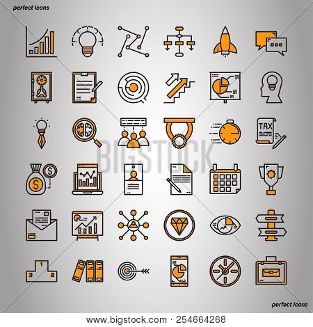 Business Element Color Line Icons Perfect Pixel. Use For Website, Template,package, Platform. Concep