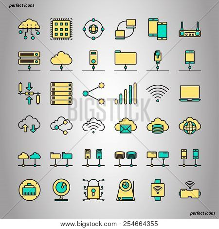 Computer Networks And Database Color Line Icons Perfect Pixel. Use For Website, Template,package, Pl