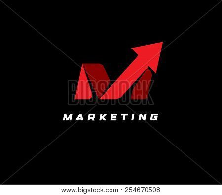 Red Up Arrow On Black Background, Vector Illustration. Seo Icon, Marketing Abstract Symbol, Delivery