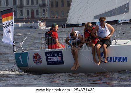 ST. PETERSBURG, RUSSIA - AUGUST 3, 2018: Team from Germany compete in Semifinal 2 of Sailing Champions League. 25 sailing teams participate in the competitions