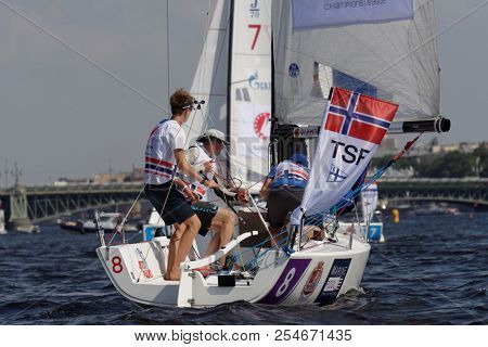 ST. PETERSBURG, RUSSIA - AUGUST 3, 2018: Team TSF from Norway compete in Semifinal 2 of Sailing Champions League. 25 sailing teams participate in the competitions