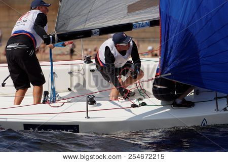 ST. PETERSBURG, RUSSIA - AUGUST 3, 2018: Team from Russia compete in Semifinal 2 of Sailing Champions League. 25 sailing teams participate in the competitions