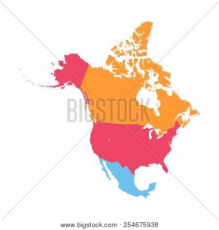 North America Vector Map Business Sign Illustration.