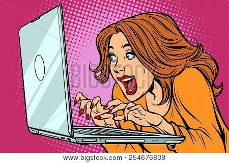 Woman Typing On Laptop Keyboard. Comic Cartoon Pop Art Retro Vector Illustration Drawing