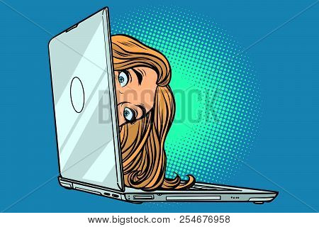 Woman Peeking Out Of Laptop. Comic Cartoon Pop Art Retro Vector Illustration Drawing