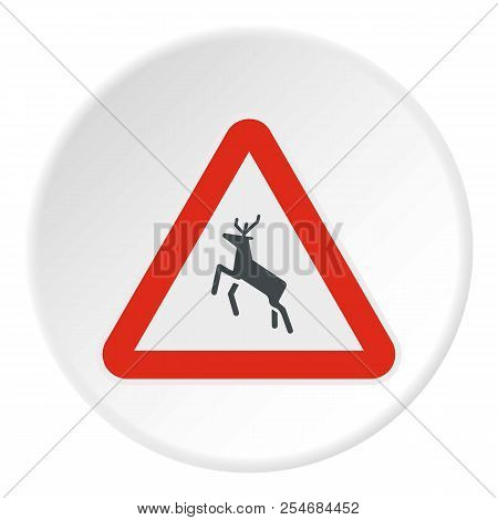 Sign Caution Deer Icon. Flat Illustration Of Sign Caution Deer Icon For Web