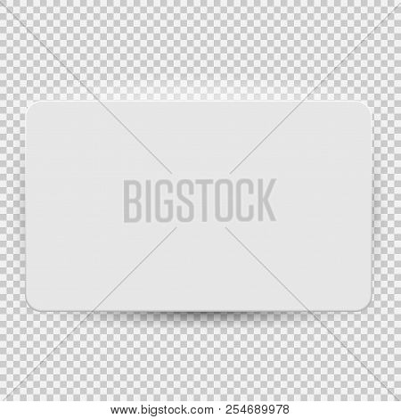 White Blank Credit Or Gift Card Model Template Top View With Shadow Isolated On Transparent Backgrou
