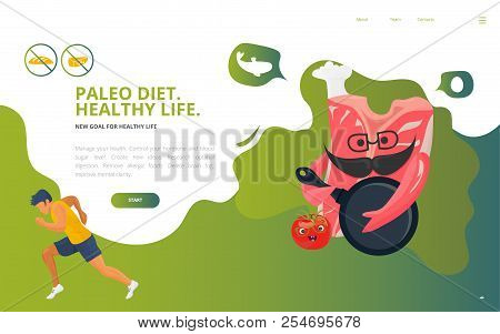 Dietology Concept Vector Illustration: The Paleolithic Or Paleo Diet, Known As Caveman Or Stone-age