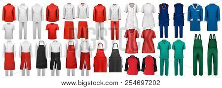 Mega Set Of Overalls With Worker And Shefcooks And Medical Clothes. Design Template. Vector Illustra