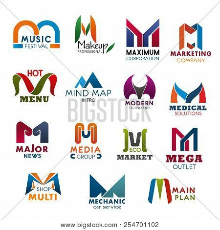 Letter M Icons Modern Design For Company, Brand Name And Business Corporate Identity. Vector Abstrac