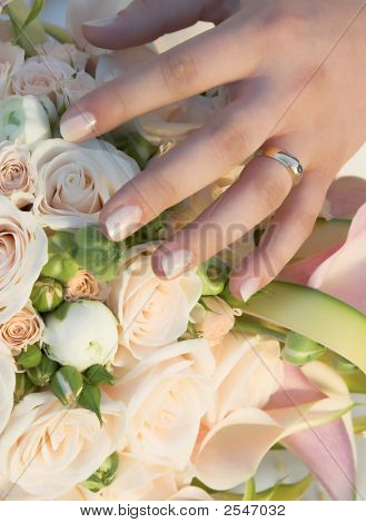 Wedding Bouquet From Beautiful Roses With Wedding Ring