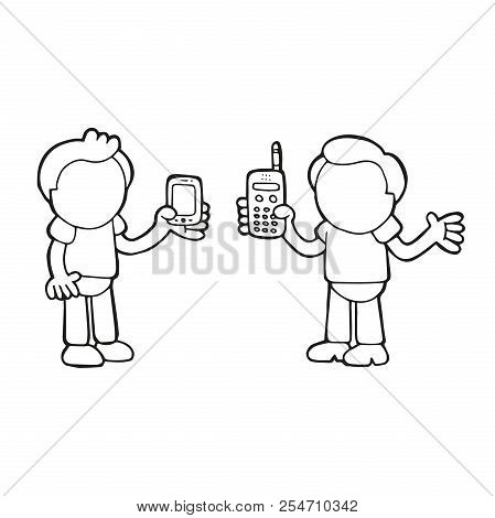 Vector Hand-drawn Cartoon Illustration Of Two Men Show Their New And Old Phones Each Other.