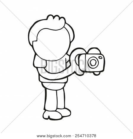 Vector Hand-drawn Cartoon Illustration Of Photographer Man Standing Shooting With Camera.