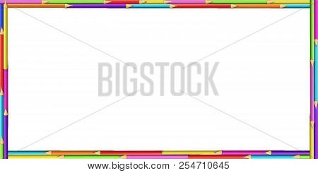 Vector Creative Rectangle Border Frame Made Of Colored Wooden Pencils On White Background. Back To S