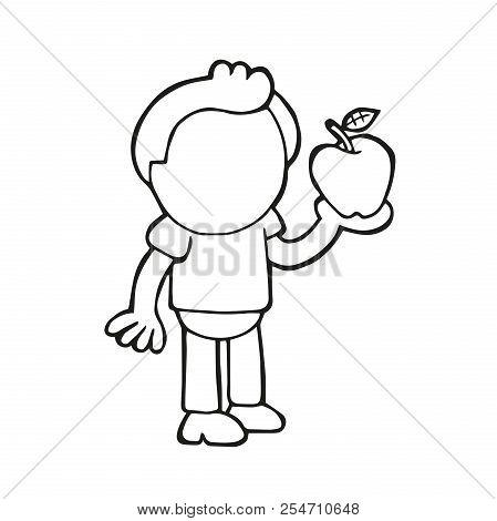 Vector Hand-drawn Cartoon Illustration Of Man Standing Holding Red Apple.