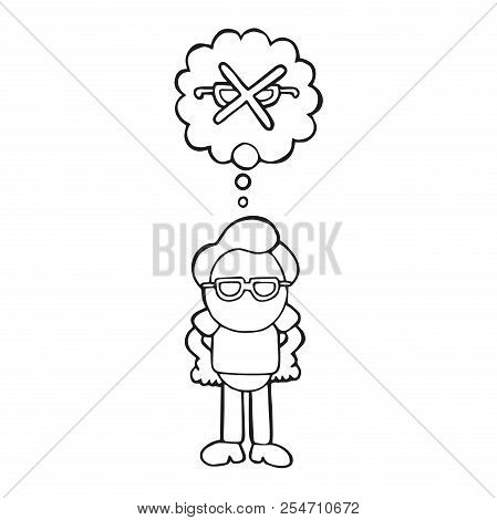 Vector Hand-drawn Cartoon Illustration Of Man Standing Dreaming Of Perfect Vision Thought Bubble.