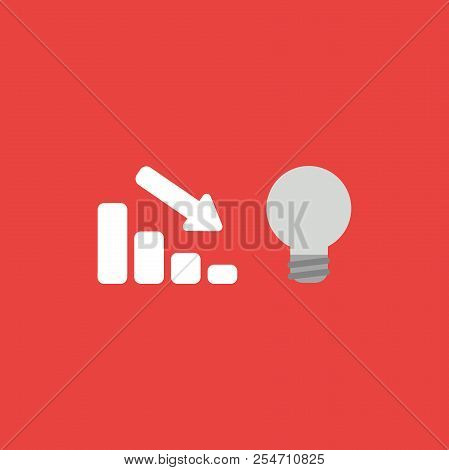 Flat Vector Icon Concept Of Sales Bar Graph Moving Down With Grey Light Bulb On Red Background.