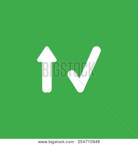 Flat Vector Icon Concept Of Arrow Moving Up And Check Mark On Green Background.