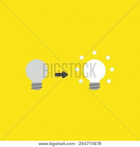 Flat Vector Icon Concept Of Grey And Glowing Light Bulbs On Yellow Background.