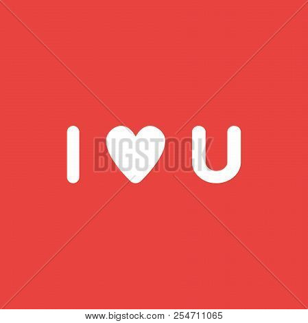 Flat Vector Icon Concept Of I Love You Word With Heart On Red Background.