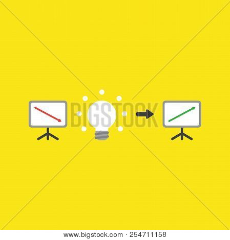 Flat Vector Icon Concept Of Sales Chart With Arrow Moving Down, Glowing Light Bulb Idea And Moving U