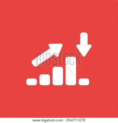 Flat Vector Icon Concept Of Sales Bar Graph Moving Up And Down On Red Background.