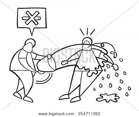 Vector Illustration Cartoon Man Character Throw Water With Bucket To Smoker And Say No Smoking Cigar