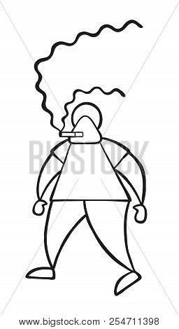 Vector Illustration Cartoon Man Character Walking And Smoking Cigarette.