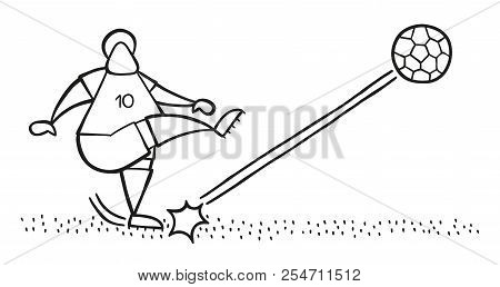 Vector Illustration Cartoon Soccer Player Man Shooting Ball On Pitch.