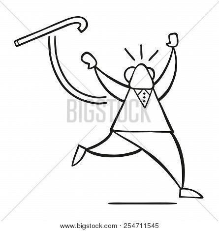 Vector Illustration Cartoon Old Man Throwing His Walking Stick And Running.