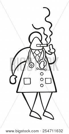 Vector Illustration Cartoon Doctor Man Standing And Smoking Cigarette.