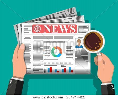 Businessman With Coffee Reading Daily Newspaper. News Journal Design. Pages With Various Headlines,