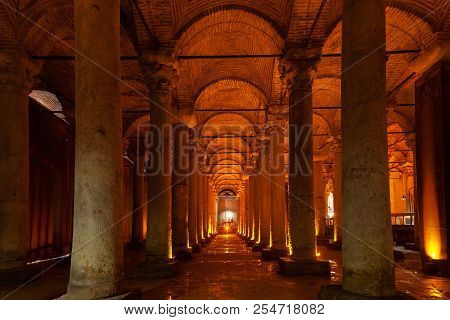 Illuminated Columns Of The Basilica Cistern In Istanbul, Turkey.