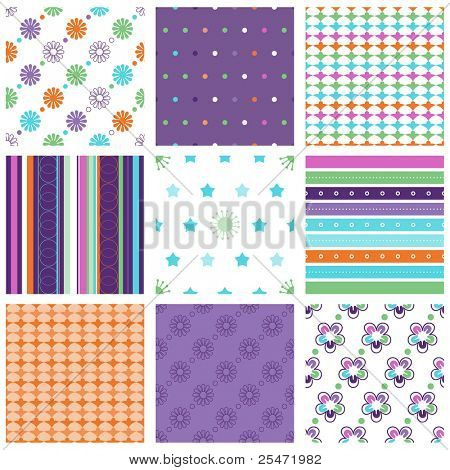 Vector set of nine colorful seamless pattern