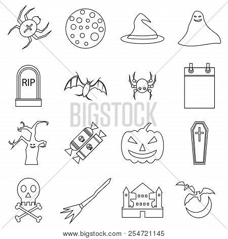 Haloween Icons Set. Outline Illustration Of 16 Haloween Icons For Web