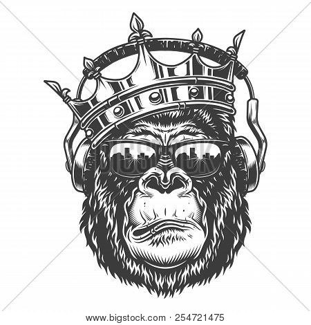 Gorilla Head In Monochrome Style Crown And Glasses Headphones Vector Illustration