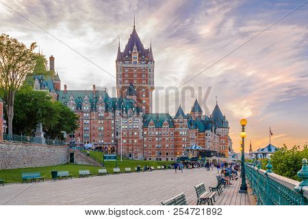 Quebec,canada - June 16,2018 - View At The Chateau Of Frontenac From Dufferin Terrasse In Quebec. Qu